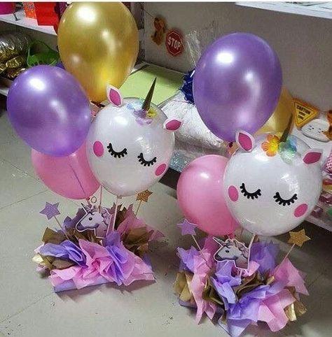 Unicorn balloon decorations party ideas Pinterest Unicorns