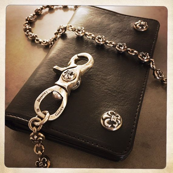 9660689e4b0 Authentic Vintage CHROME HEARTS Biker Wallet with Vintage Fleur de Lis  Sterling Silver Ball Chain Luxury Designer