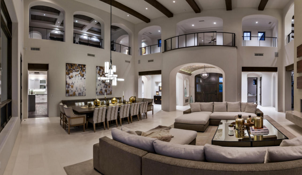 2-story Great Room & Dining Room | Mansion interior, Home ...
