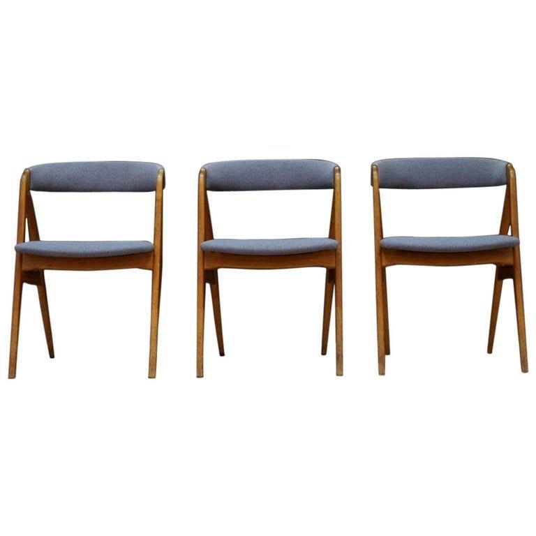 T.h. Harlev Teak Gray Chairs Retro Danish Design, 1070s