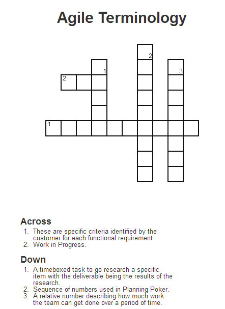 Agile terminology crossword puzzle agile pinterest agile terminology crossword puzzle ccuart Choice Image
