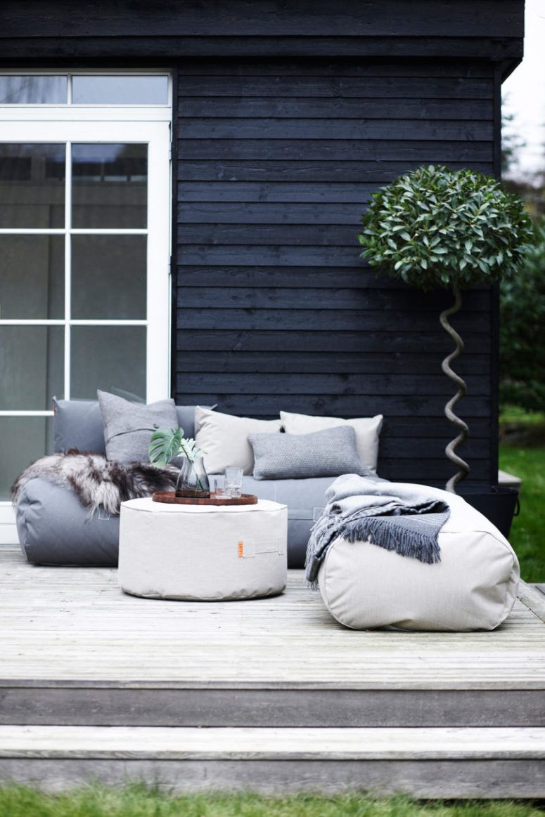 This outdoor furniture collection is made of bean bag chairs, cushions,  ottomans and sofas with a truly Scandi feel. - This Outdoor Furniture Collection Is Made Of Bean Bag Chairs