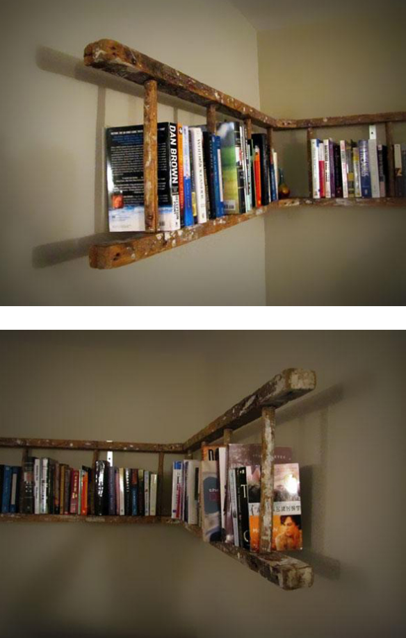 Up Cycling Bookshelf Made From An Old Wooden Ladder Ladder