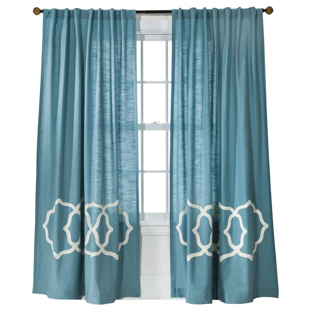"Naturals Fretwork Border Curtain Panel Blue/White (54""X84 ... for Blue And White Curtains For Living Room  45jwn"