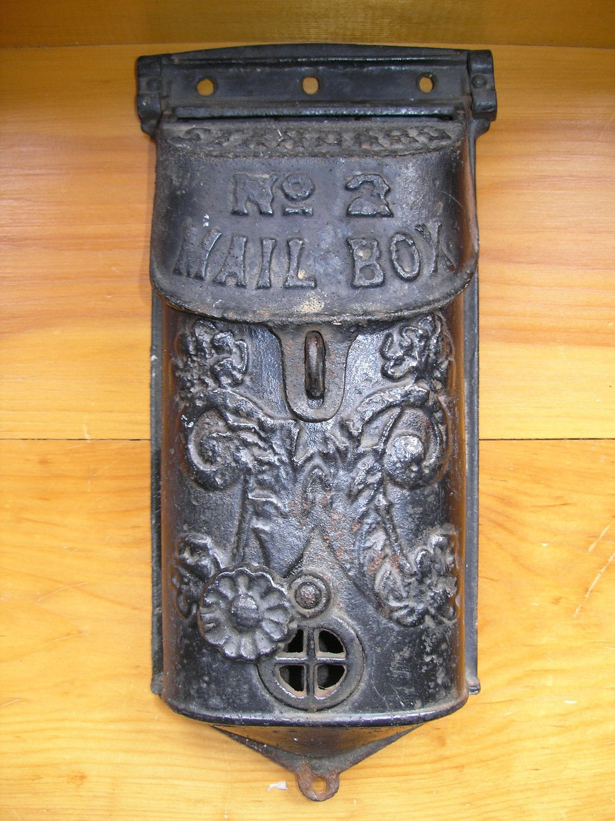 Details About Vintage Original Antique Cast Iron Locking Mail Box