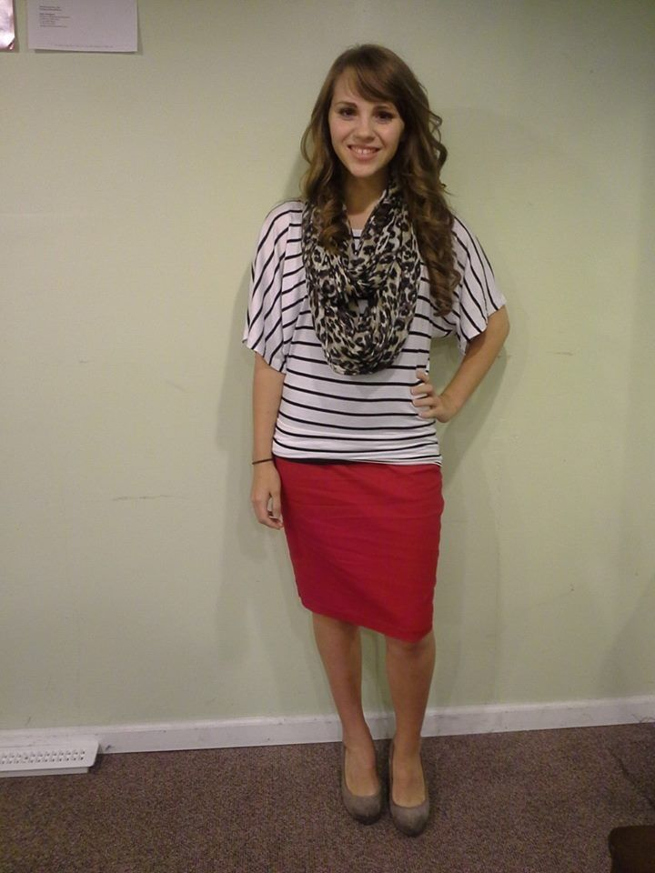 Red pencil skirt, black and white striped shirt, and leopard infinity scarf. Cute pattern mixing!