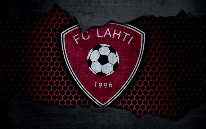 Lataa kuva Lahti, 4k, logo, Veikkausliiga, jalkapallo, football club, Suomi, grunge, metalli rakenne, Eroon FC