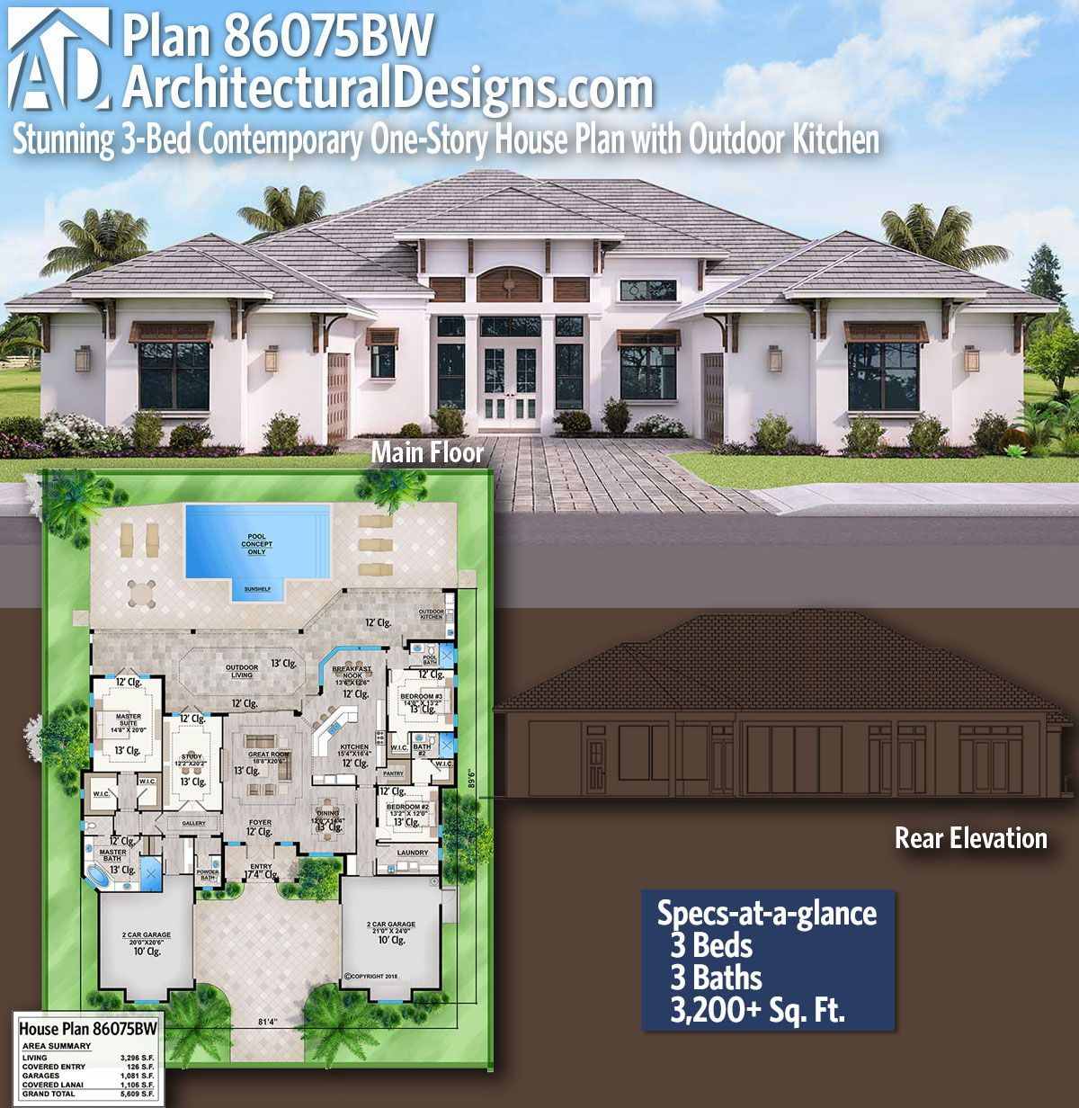 Plan 86075bw Stunning 3 Bed Contemporary One Story House Plan With Outdoor Kitchen House Plans Story House Dream House Plans