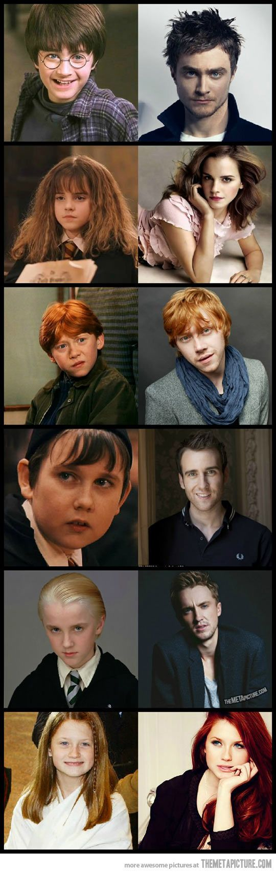 Harry Potter then and now. There's magic involved here…I love harry potter