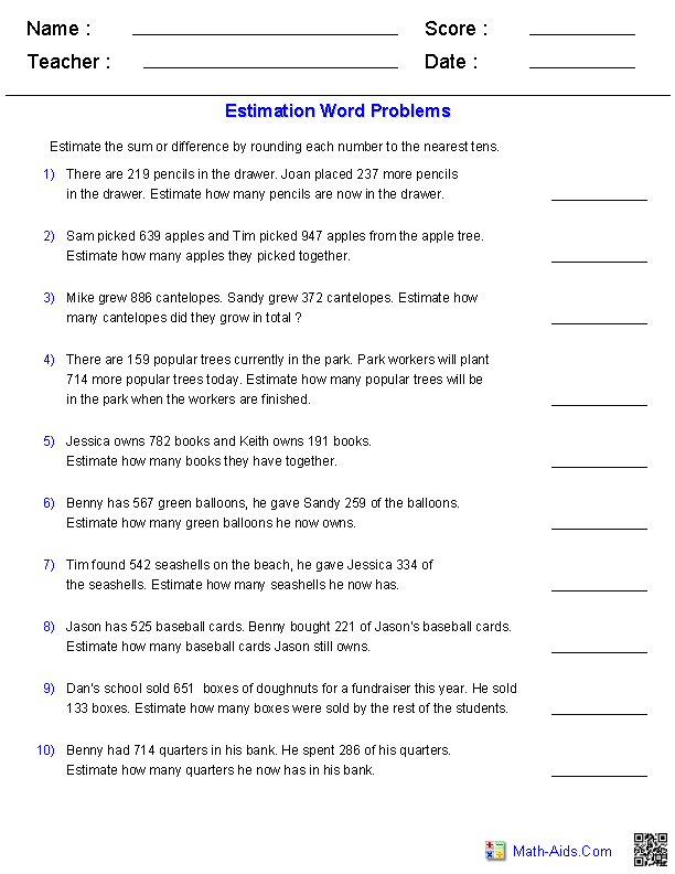 Estimating Sums and Differences 3 Digits Word Problems | Math-Aids ...