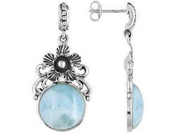 Larimar Cabochon Sterling Silver Flower Motif Dangle Earrings