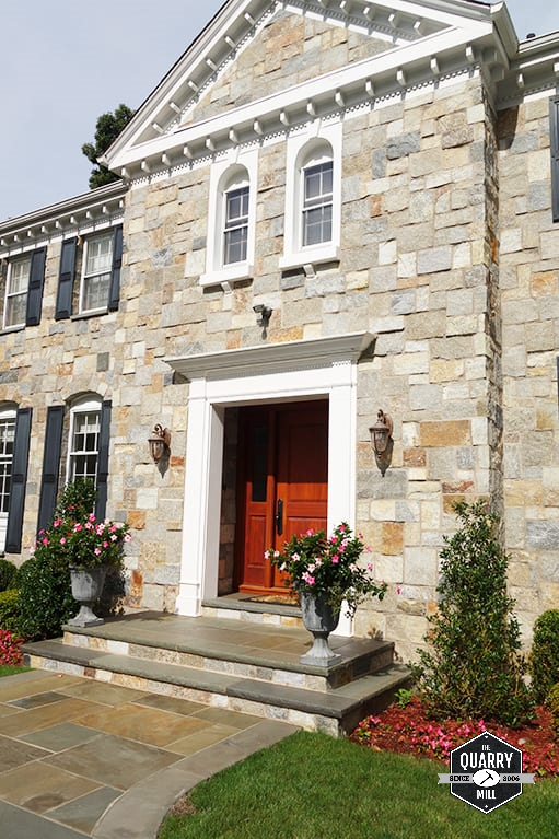 Plymouth natural thin stone veneer creates a unique and stunning exterior on this residential home. #naturalstone #stoneveneer #thinstone #realstone #quarry #freeshipping #thinstoneveneer #thinveneer #masonry #stoneexterior #homeexterior #colonialhomes #beautifulhomes #newhome #welcomehome #stonedesign #homedesign #designinspiration #dreamhome #architecture #stonesiding #naturalstoneveneer #realstoneveneer #stonehomeexterior #frontentrance #curbappeal #castlerockstone