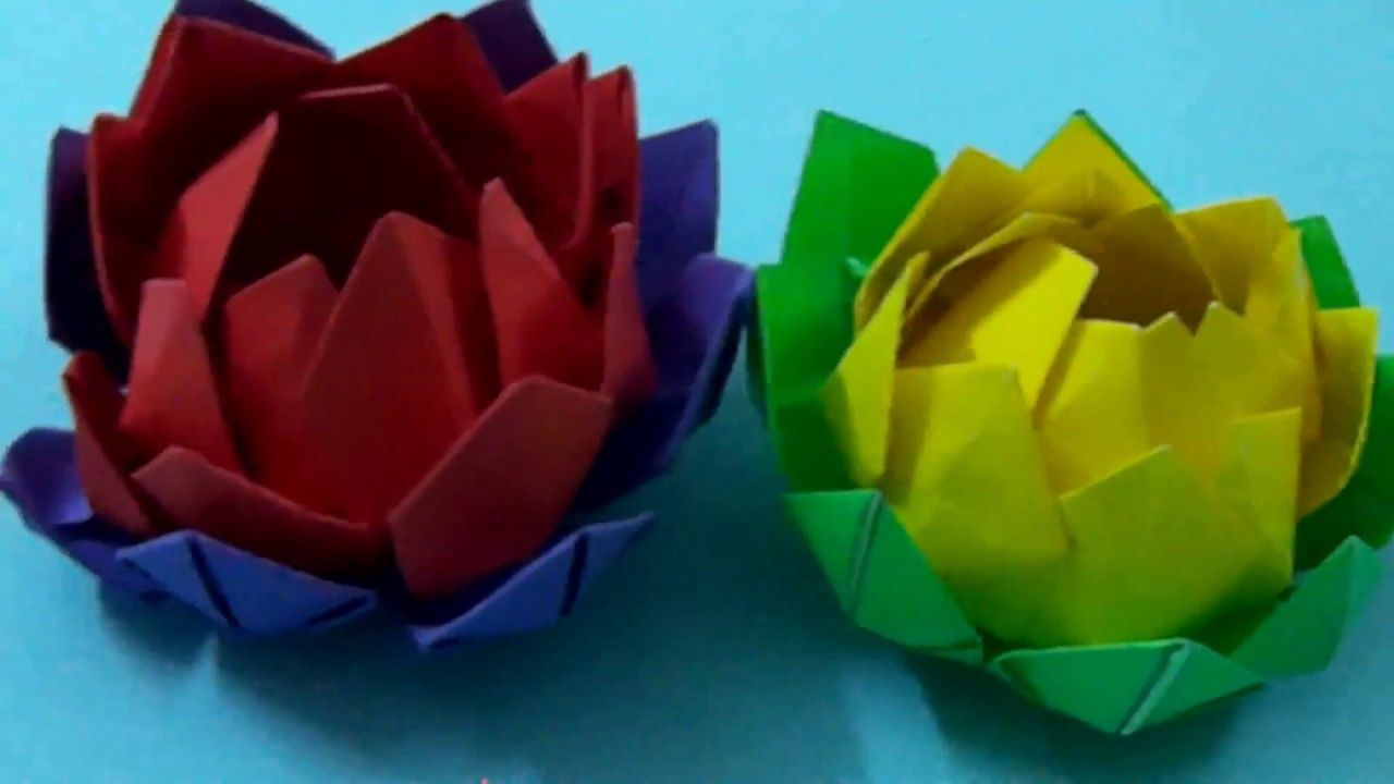 How To Make Paper Flowers Origami Lotus Flower Simple And Easy