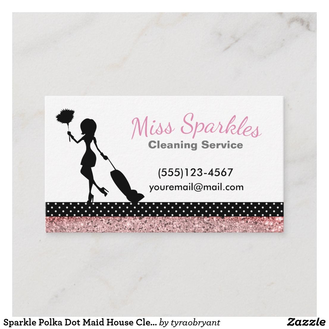 Sparkle Polka Dot Maid House Cleaning Services Business Card Zazzle Com Cleaning Business Cards Cleaning Service House Cleaning Services