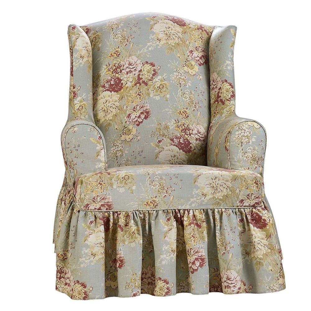Ballad Bouquet Wing Room Chair Robins Egg Blue Sure Fit