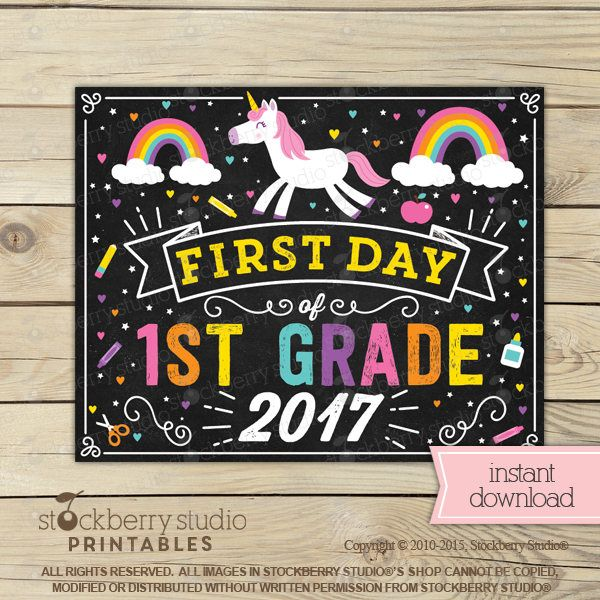 photo relating to First Day of 1st Grade Printable called Unicorn Initial Working day of 1st Quality Indication Woman Initially Working day of College or university