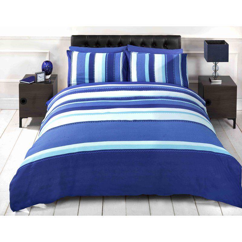 Stripe 132 Tc Duvet Cover Set Blue Duvet Cover Blue Duvet Duvet Cover Sets