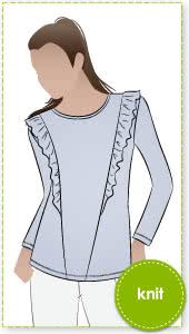 "a839c7f521cf5 Keely Knit Top Sewing Pattern By Style Arc - Fashionable long sleeve ""T"" top"
