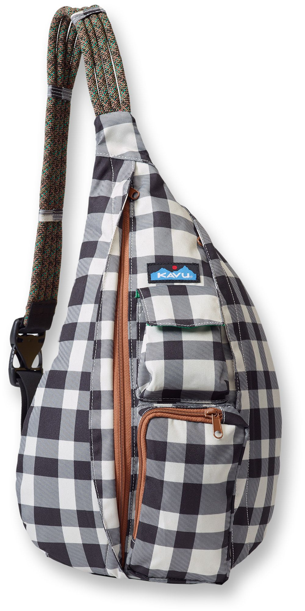 Kavu Rope Sling - BW Plaid. The Sling Bag fit the body like a bag should.  It s similar in size (11