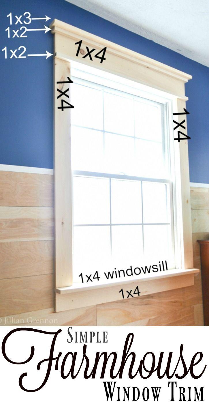 Simple interior window trim - Super Simple Diy Farmhouse Window Trim