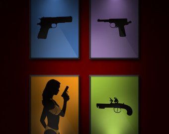 Him, Man Cave Wall Decor, Guns Silhouettes, Etsy Dudes, For Your Guy