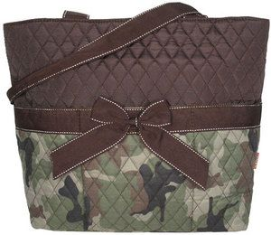 Camo Quilted Diaper Bag with Brown Trim by littleblessings99 ... : quilted camo diaper bag - Adamdwight.com