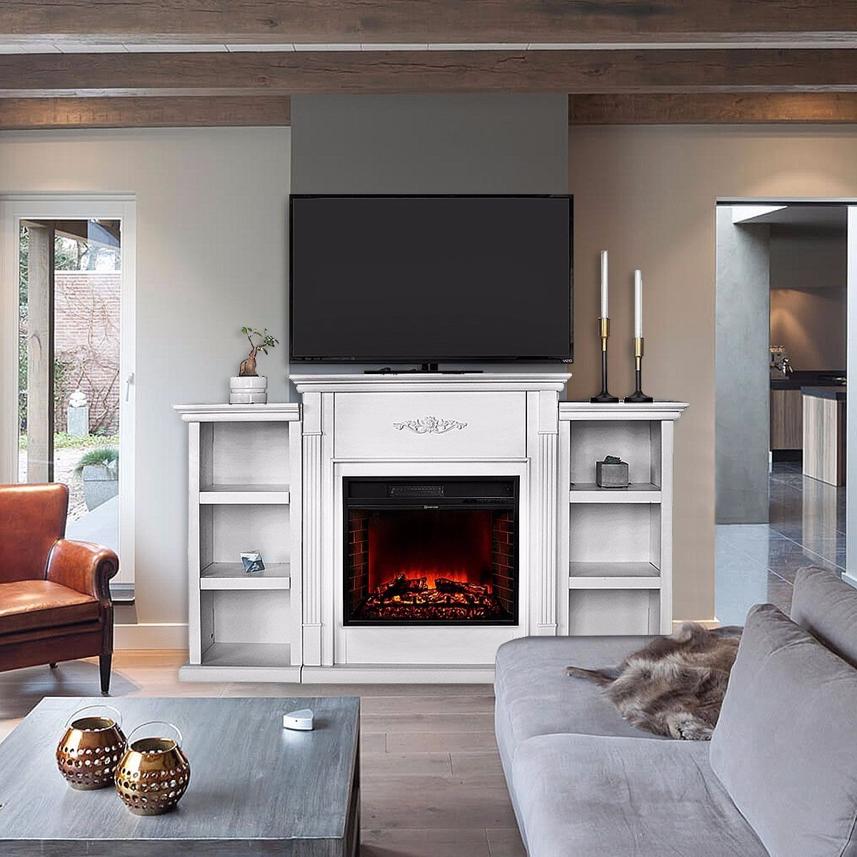 Ghp 70 X14 X43 Ivory Entertainment Media Console Fireplace Tv