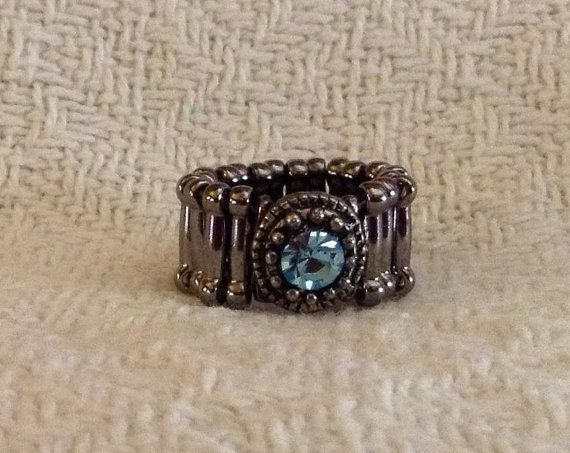 Pinky Ring with Light Blue Crystal