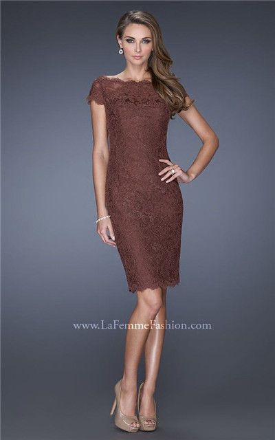 5e3936521d4f La Femme 20462 Off-Shoulder Chocolate Short Lace Homecoming Dress Cheap  La  Femme 20462 Chocolate  -  185.00   Cheap Homecoming Dresses 2015