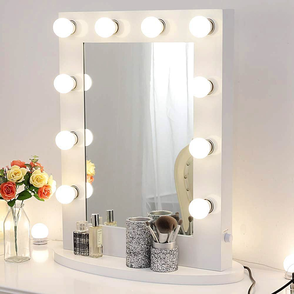 Chende Gloss White Makeup Vanity Mirror With Lights Hollywood Lighted Mirror With Led Bulbs Tabletop Illuminated Wall Mounted Cosmetic Mirror Walmart Com Makeup Vanity Mirror With Lights White Vanity Mirror Makeup