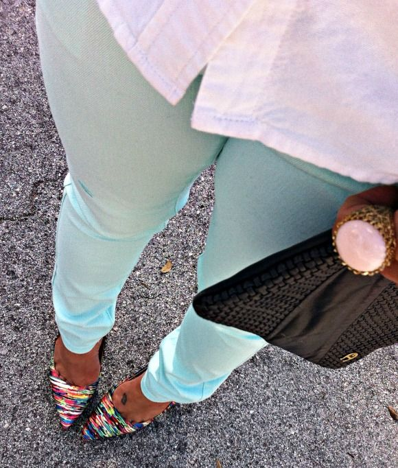 Mint green skinny jeans and Prabal Gurung for Target heels #TargetStyle - Have the heels!!