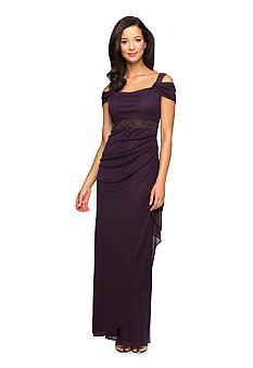 625d23b043a  AlexEvenings Cold Shoulder Gown with Bead Detail