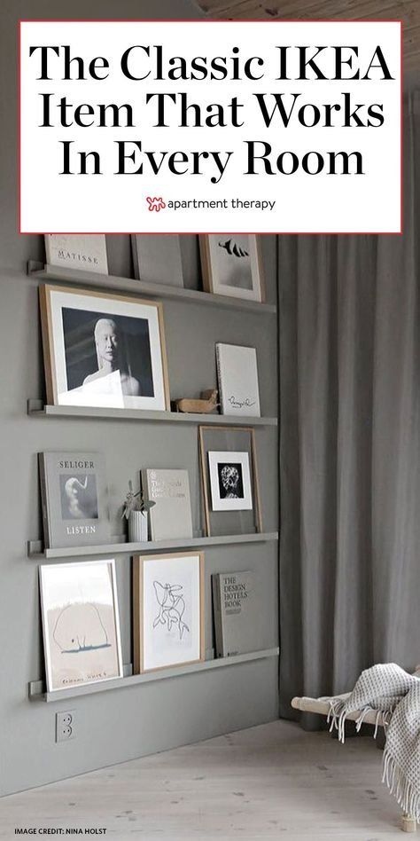 The RIBBA ledges are a classic IKEA item that can be used in every single room of the house—and these photos are proof. #ikea #ikeafurniture #ikeashelves #floatingshelves #shelvingideas #ikeahacks #ribba #pictureledges