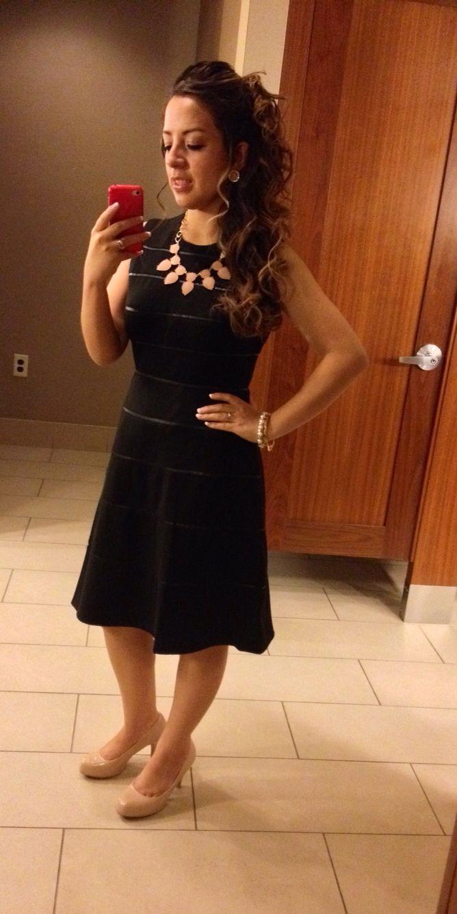 Formal Attire Black Dress Peach Necklace Peach Heels Modest Outfits Black Dress Little Black Dress [ 1334 x 668 Pixel ]