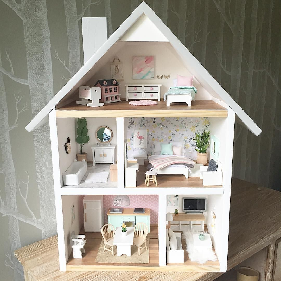 pin by heidi diehl on charlie 39 s dollhouse doll house plans barbie doll house barbie house. Black Bedroom Furniture Sets. Home Design Ideas