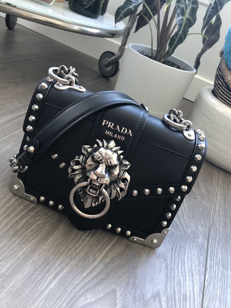 Photo of Prada cahier lion head black and silver chain strap Ana Maria bag. Prada noteb #…