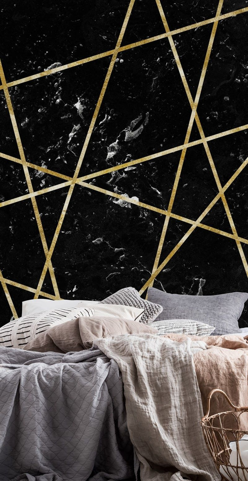 Black Marble Gold Geo Glam 1 Wallpaper From Happywall Com Black Marble Wall Murals Mural
