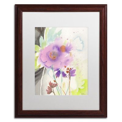 "Trademark Art ""Mauve Garden Shadows"" by Sheila Golden Matted Framed Painting Print Size: 20"" H x 16"" W x 0.5"" D"