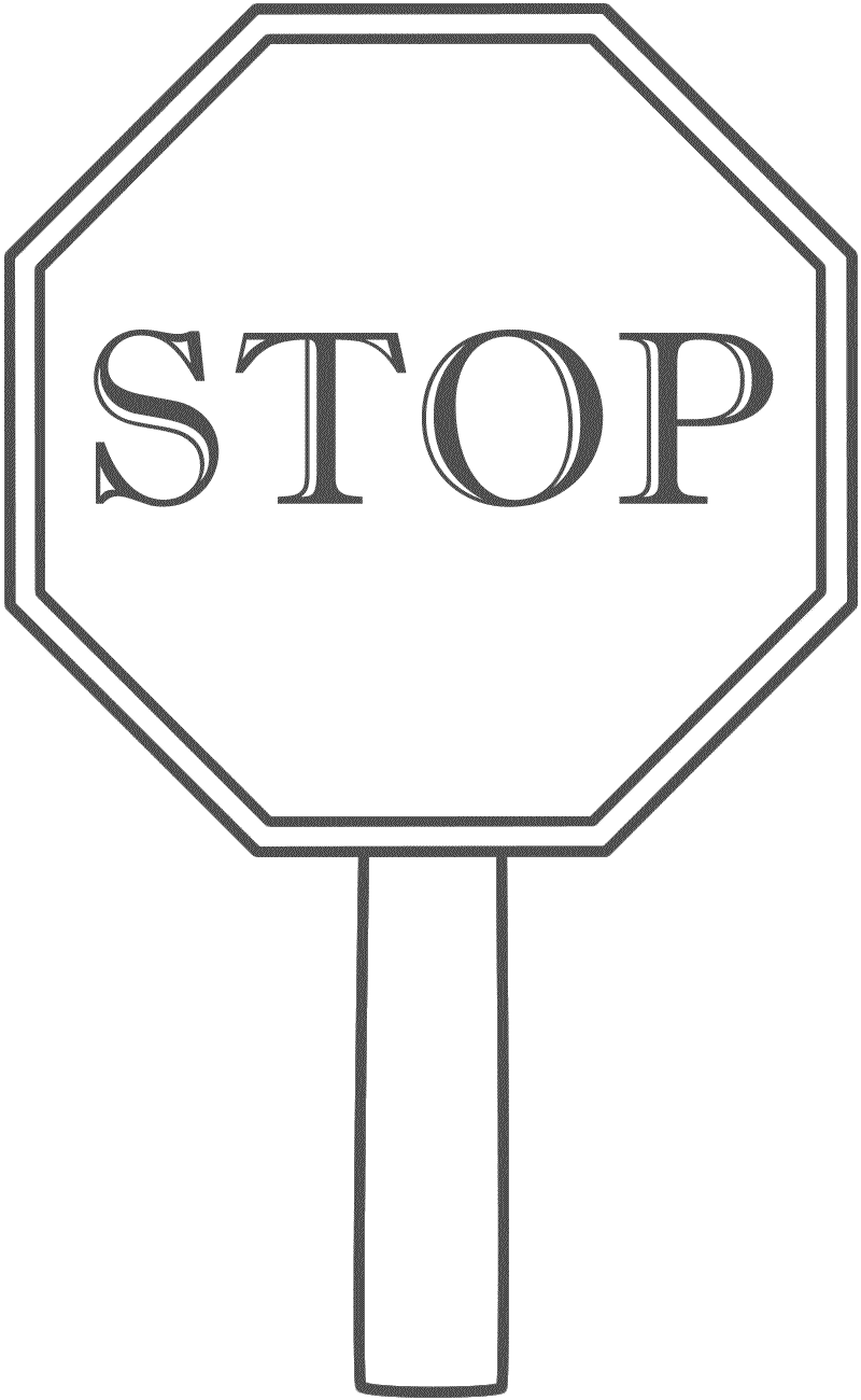 Stop Sign With Border On A Post Coloring Page Safety Coloring Pages Stop Sign Stop Sign Picture