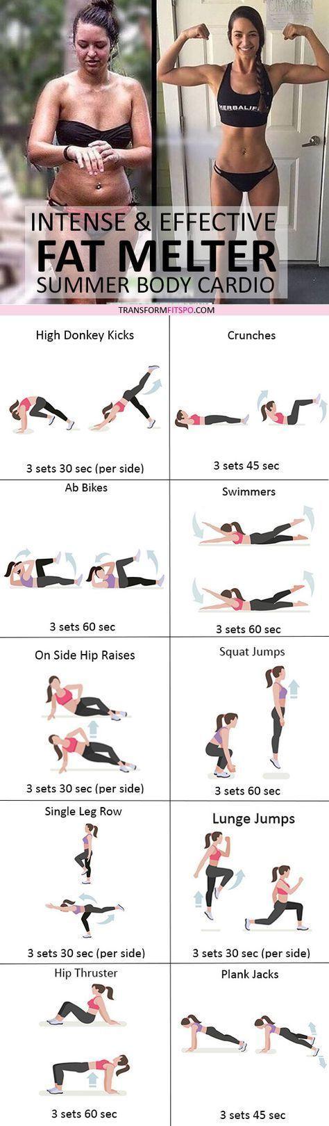 23 Intensive Cardio-Workouts, um hartnäckiges Bauchfett loszuwerden! #pilatesyoga