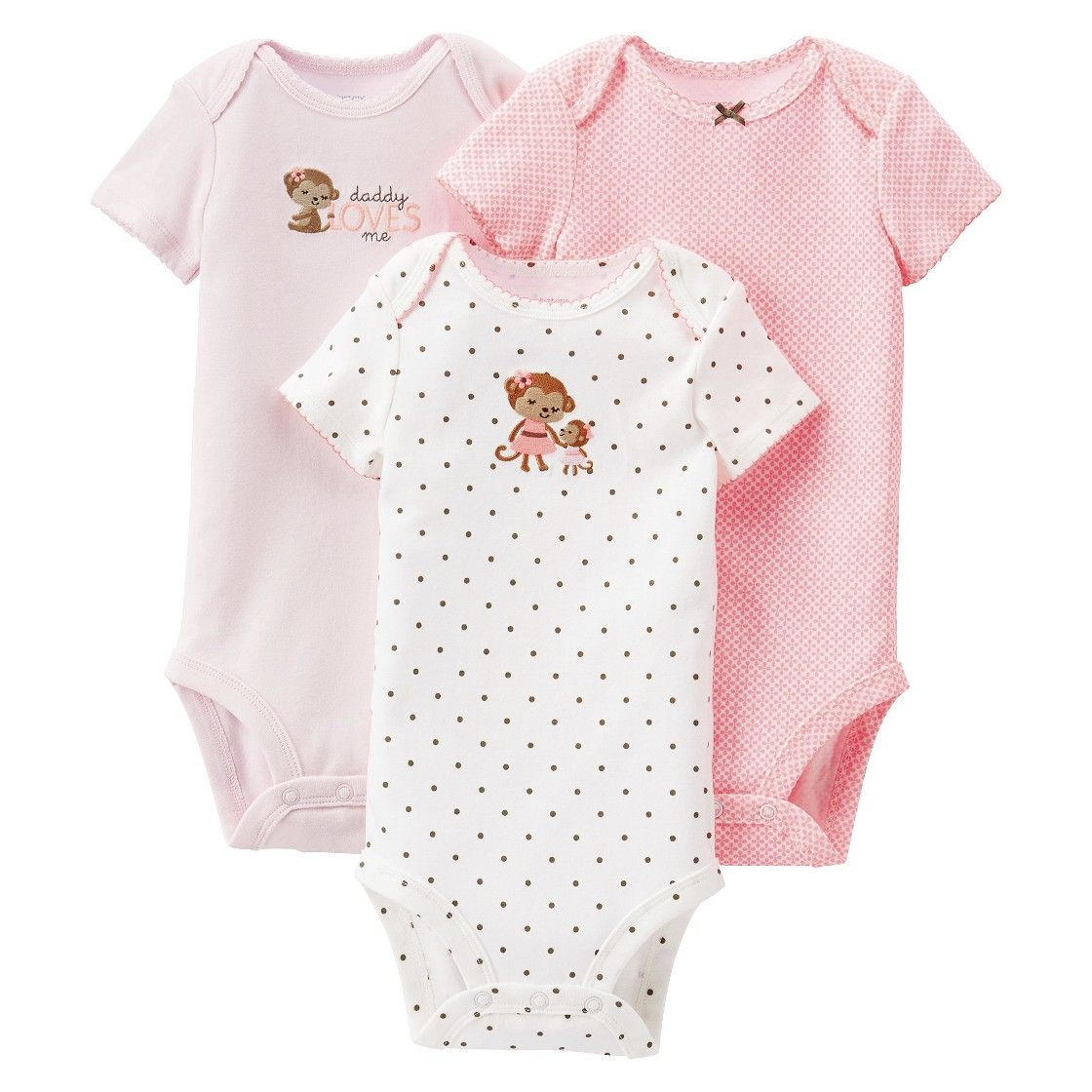 Just One You Made by Carter's Newborn Girls' Monkey 3 Pack