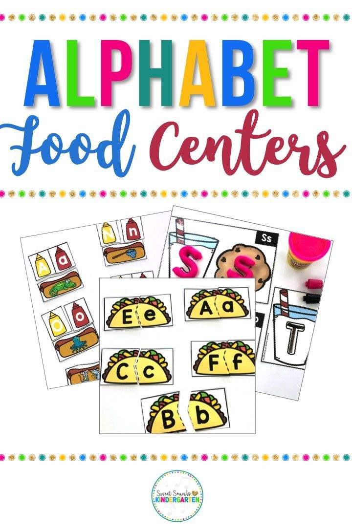 These food themed Alphabet centers and games are perfect to use all year long to keep your kindergarten students engaged and working on the alphabet! Includes activities to practice ABC order, letter matching, printing, and beginning sounds. Click through to see for yourself! #backtoschool #kindergarten #reading #alphabet