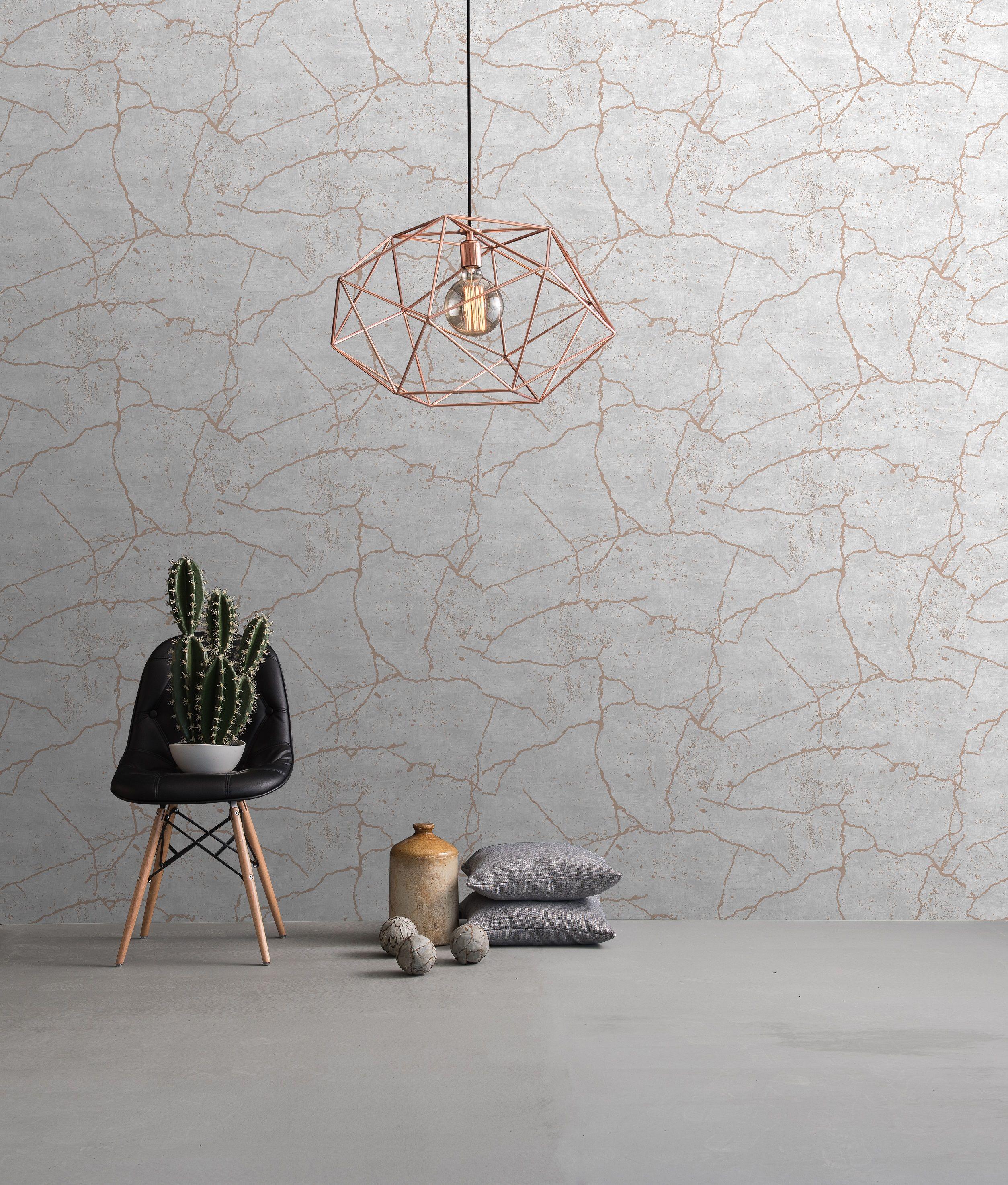 Vliestapete Kintsugi Optik beige grau rose gold metallic  Tapete
