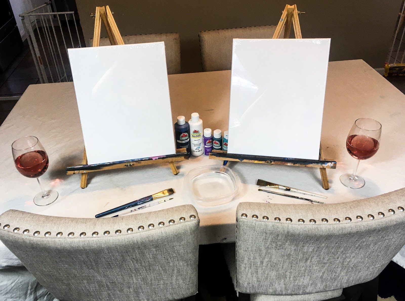 Couples Painting Date Night At Home Paint Sip Couple S Edition Paint And Sip Wine And Paint Night Cute Date Ideas