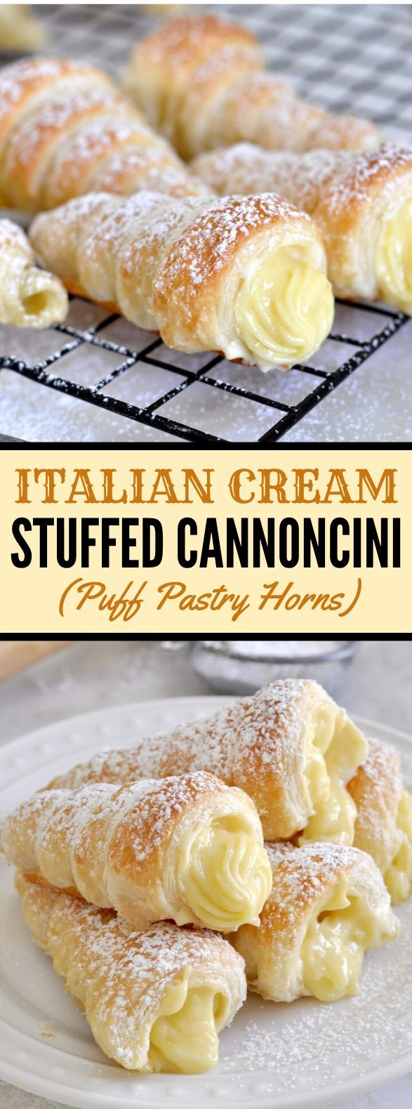 Italian Cream Stuffed Cannoncini (Puff Pastry Horns) #desserts #sweets