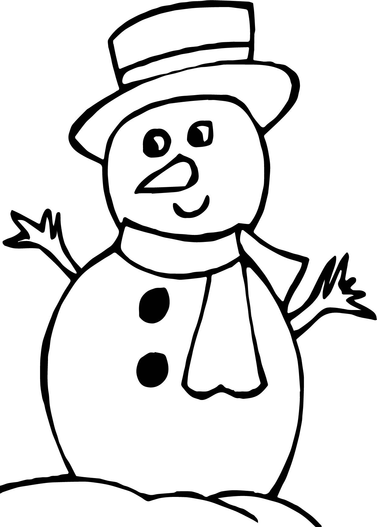 awesome Winter Looking Snowman Coloring Page Snowman