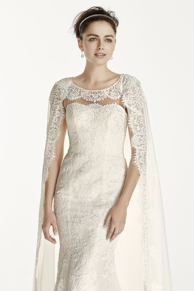 Oleg cassini lace with chiffon cape wedding dress style cwg