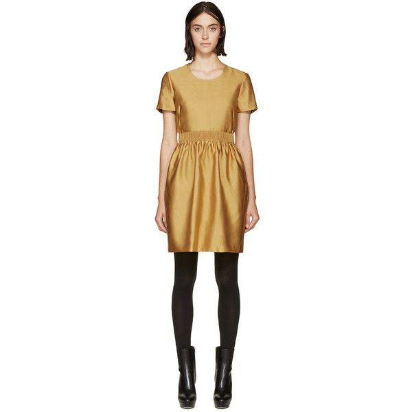 Burberry London Yellow Emmeline Dress ($970) ❤ liked on Polyvore featuring dresses, yellow pleated dress, short sleeve dress, collar dress, yellow day dress and fitted dresses