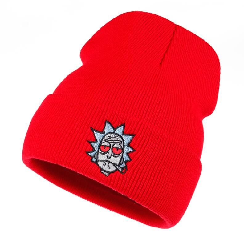 f82d20eb Rick and Morty Beanie Rick Smoking Hats Elastic Brand Embroidery Warm  Winter Knitted Hat Skullies US Animation Ski Red Eyes Cap