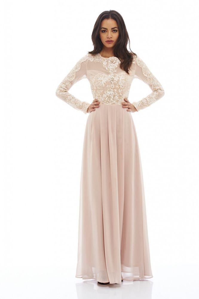 c16b40251 Ax Paris Lace Top Long Sleeved Maxi Dress Size 12 | eBay | Beautiful ...